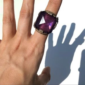 Vintage dragon faceted purple crystal ring